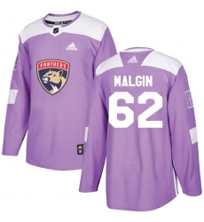 Men's Adidas Florida Panthers #62 Denis Malgin Authentic Purple Fights Cancer Practice NHL Jersey
