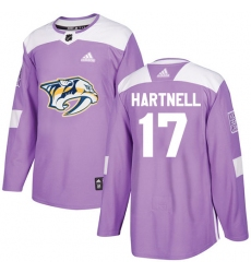 Youth Adidas Nashville Predators #17 Scott Hartnell Authentic Purple Fights Cancer Practice NHL Jersey