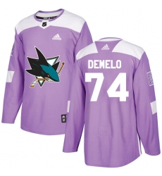 Men's Adidas San Jose Sharks #74 Dylan DeMelo Authentic Purple Fights Cancer Practice NHL Jersey