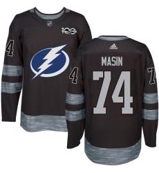 Men's Adidas Tampa Bay Lightning #74 Dominik Masin Authentic Black 1917-2017 100th Anniversary NHL Jersey