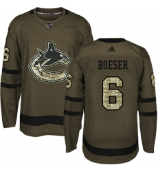 Youth Adidas Vancouver Canucks #6 Brock Boeser Premier Green Salute to Service NHL Jersey