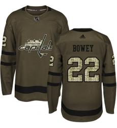 Men's Adidas Washington Capitals #22 Madison Bowey Authentic Green Salute to Service NHL Jersey