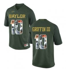 Baylor Bears #10 Robert Griffin III Green With Portrait Print College Football Jersey2
