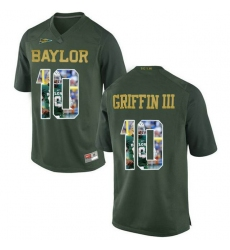 Baylor Bears #10 Robert Griffin III Green With Portrait Print College Football Jersey4