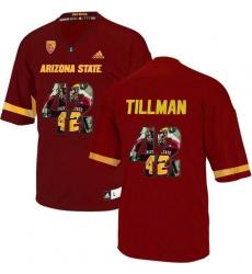 Arizona State Sun Devils #42 Pat Tillman Red Team Logo Print College Football Jersey