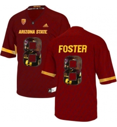 Arizona State Sun Devils #8 D.J. Foster Red Team Logo Print College Football Jersey6