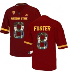 Arizona State Sun Devils #8 D.J. Foster Red Team Logo Print College Football Jersey7
