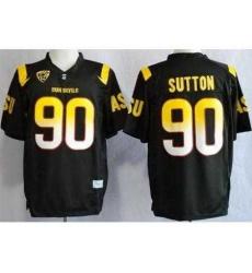 Arizona State Sun Devis (ASU) 90 Will Sutton Black NCAA Jerseys