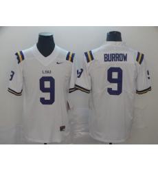 Men's LSU Tigers #9 Burrow White College Football Jersey
