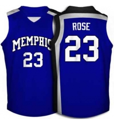 Tigers #23 Derrick Rose Blue Basketball Embroidered NCAA Jersey