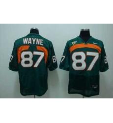 Hurricanes #87 Reggie Wayn Green Embroidered NCAA Jersey