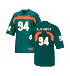 Miami Hurricanes 94 Dwayne Johnson Green College Football Jersey
