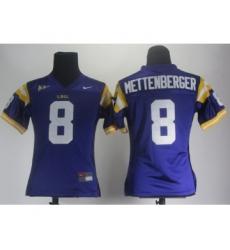 Women LSU Tigers 8 Zach Mettenberger Purple Jerseys