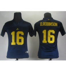 Women Michigan Wolverines 16 Denard Robinson Blue Jerseys