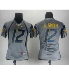 Women Nike West Virginia Mountaineers 12 Geno Smith Grey College Football NCAA Jerseys