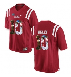 Ole Miss Rebels #10 Chad Kelly Red With Portrait Print College Football Jersey2
