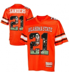 Oklahoma State Cowboys #21 Barry Sanders Orange With Portrait Print College Football Jersey