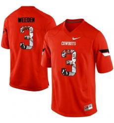 Oklahoma State Cowboys #3 Brandon Weeden Orange With Portrait Print College Football Jersey