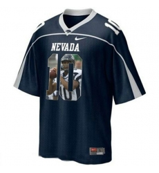 Nevada WolfPack #10 Colin Kaepernick WAC Patch Blue With Portrait Print College Football Jersey