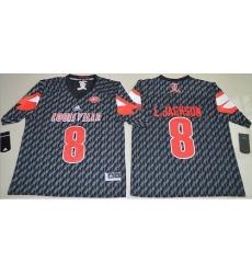 Louisville Cardinals #8 Lamar Jackson Black AAC Patch Stitched NCAA Jersey