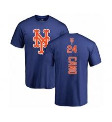 Baseball New York Mets #24 Robinson Cano Royal Blue Backer T-Shirt
