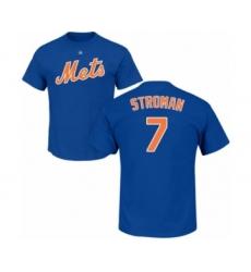 Baseball New York Mets #7 Marcus Stroman Royal Blue Name & Number T-Shirt
