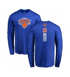 Basketball New York Knicks #13 Marcus Morris Royal Blue Backer Long Sleeve T-Shirt