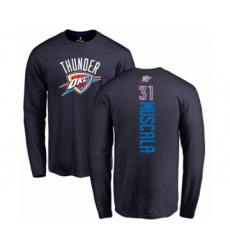 Basketball Oklahoma City Thunder #31 Mike Muscala Navy Blue Backer Long Sleeve T-Shirt