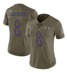 Women's Nike Baltimore Ravens #8 Lamar Jackson Limited Olive 2017 Salute to Service NFL Jersey