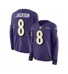Women's Nike Baltimore Ravens #8 Lamar Jackson Limited Purple Therma Long Sleeve NFL Jersey