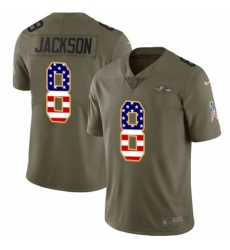Youth Nike Baltimore Ravens #8 Lamar Jackson Limited Olive/USA Flag Salute to Service NFL Jersey