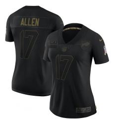 Women's Buffalo Bills #17 Josh Allen Black Nike 2020 Salute To Service Limited Jersey