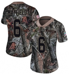 Women's Nike Cleveland Browns #6 Baker Mayfield Limited Camo Rush Realtree NFL Jersey