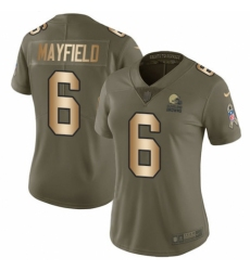 Women's Nike Cleveland Browns #6 Baker Mayfield Limited Olive Gold 2017 Salute to Service NFL Jersey