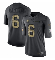 Youth Nike Cleveland Browns #6 Baker Mayfield Limited Black 2016 Salute to Service NFL Jersey