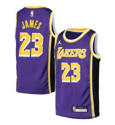 Youth Los Angeles Lakers #23 LeBron James Jordan Brand Purple 2020-21 Swingman Player Jersey