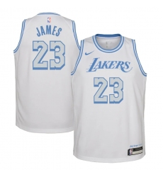Youth Los Angeles Lakers #23 LeBron James Nike White 2020-21 Swingman Jersey
