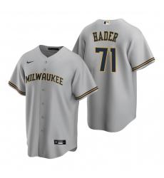 Men's Nike Milwaukee Brewers #71 Josh Hader Gray Road Stitched Baseball Jersey