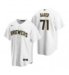Men's Nike Milwaukee Brewers #71 Josh Hader White Alternate Stitched Baseball Jersey