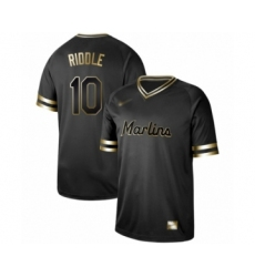 Men's Miami Marlins #10 JT Riddle Authentic Black Gold Fashion Baseball Jersey