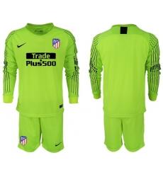 Atletico Madrid Blank Shiny Green Goalkeeper Long Sleeves Soccer Club Jersey3