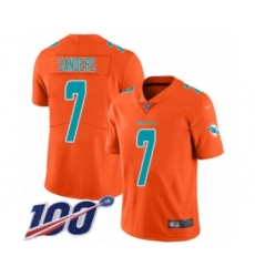 Youth Miami Dolphins #7 Jason Sanders Limited Orange Inverted Legend 100th Season Football Jersey