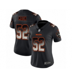 Women's Chicago Bears #52 Khalil Mack Limited Black Smoke Fashion Football Jersey