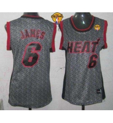 Women NBA Miami Heat #6 LeBron James Grey With Finals Patch Static Fashion Stitched NBA Jersey