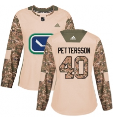 Women's Adidas Vancouver Canucks #40 Elias Pettersson Camo Authentic 2017 Veterans Day Stitched NHL Jersey