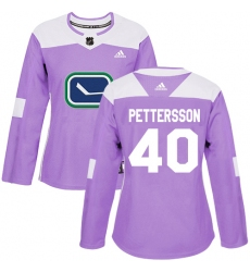 Women's Adidas Vancouver Canucks #40 Elias Pettersson Purple Authentic Fights Cancer Stitched NHL Jersey