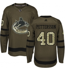 Youth Adidas Vancouver Canucks #40 Elias Pettersson Green Salute to Service Stitched NHL Jersey