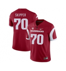 Arkansas Razorbacks 70 Dan Skipper Red College Football Jersey