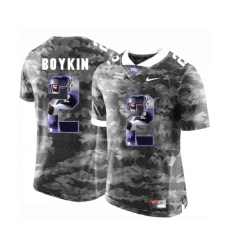 TCU Horned Frogs 2 Trevone Boykin Gray With Portrait Print College Football Limited Jersey