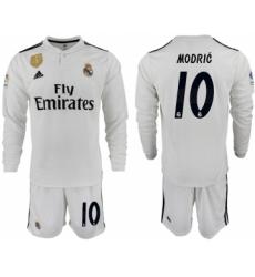 2018-19 Real Madrid 10 MODRIC Home Long Sleeve Soccer Jersey
